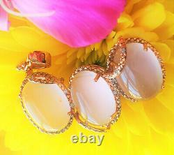 Amazing ROSE QUARTZ Diamond 18K ROSE GOLD Pendant Earrings SET Bridal Estate