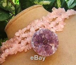 Amethyst Geode Crystal Lavender Druzy Pendant Top Grade Rose Quartz Necklace Big