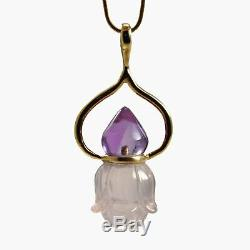Amethyst with Rose Quartz 48.29mm 18k Handcrafted Floral Pendant