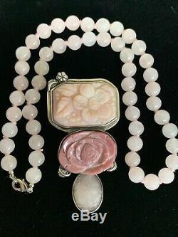Amy Kahn Russell Silver Carved Rose Quartz Floral Designet Pendant/Necklace