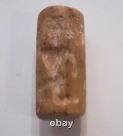 Ancient Akkadian Rose/Tan Quartz Cylinder Seal Pendant