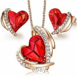 Angel 18K Rose Gold Plated Jewelry Set Women Heart Pendant Necklace Stud Earring