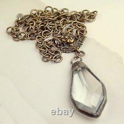 Angel Cherub Rose Cut ROCK CRYSTAL Necklace Chunky Antiqued Bronze