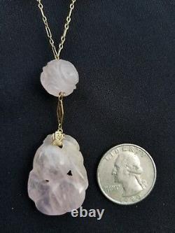 Antique Art Deco 14k Gold Carved Rose Quartz Pendant Necklace Estate Jewelry 23g