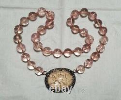 Antique Art Deco Chinese Silver ROSE QUARTZ Pendant Beaded Necklace