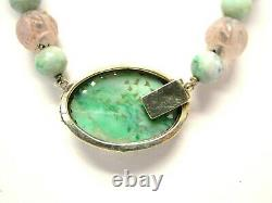 Antique Carved Jade, Rose Quartz & Seed Pearls 14k Gold Pendant Necklace
