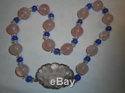 Antique Carved Rose Quartz Big Bead & Big Pendant & Blue Chalcedony Ster Choker