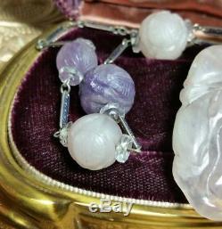 Antique Chinese Carved Genuine Amethyst Rose Quartz Shou Bead Pendant Necklace