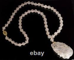 Antique Chinese Carved Pear Pendant Rose Quartz 24 Necklace