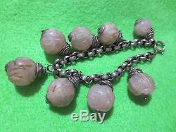 Antique Chinese Hand Carved Rose Quartz Beads Silver Charm Pendants Bracelet