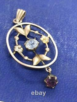 Antique Edwardian 9CT Rose Gold Purple & Clear Stone Paste Pendant