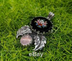 Antique Italian Micro Mosaic Pendant, Sterling Silver with Pink Rose Quartz