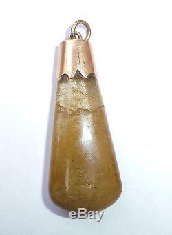 Antique Victorian 9ct Rose Gold Rutilated Quartz Angel Hair Pendant