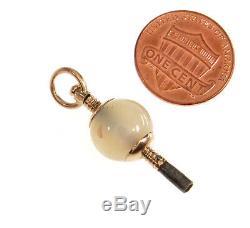 Antique Victorian 9k Rose Gold Rose Quartz Watch Key Fob Pendant