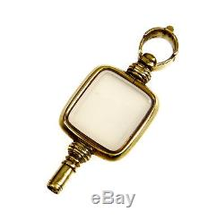 Antique Victorian 9k Yellow Gold Rose Quartz Watch Key Fob Pendant