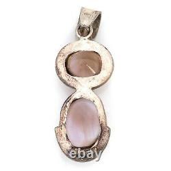 Antique Vintage Deco Retro Sterling Silver Rose Quartz Necklace Pendant 15.8g