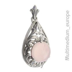 Art Deco Rosenquarz Silber Anhänger 835 silver pendant rose quartz cabochon