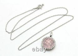 Auth 18K White Gold Natural Rose Quartz Pendant Necklace 750 #15406