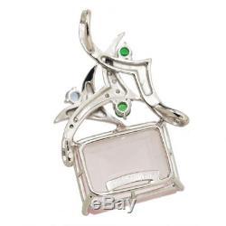 Auth Rose Quartz 24.99ct Multi-Stone Diamond Pendant 18K K18 WG 90055604