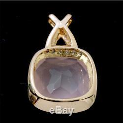 Auth Rose Quartz Diamond 0.20ct Pendant Top 18K K18 PG 90063825