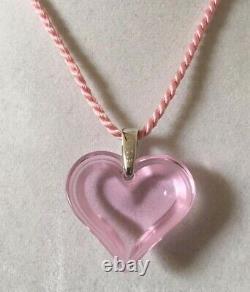 Authentic LALIQUE Rose Pink Color Heart Coeur Crystal Pendant Necklace NIB