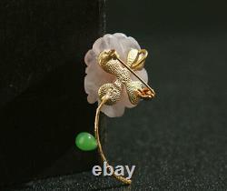 B12 Pendant Bloom Rose Quartz Pink Leaf Green Jade Gold Plated