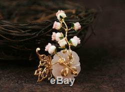 B12 Pendant Blossom Branch Rose Quartz and Butterfly Gold Plated