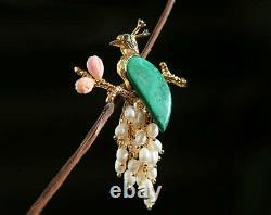 B12 Pendant Peacock Phoenix Green Malachite Freshwater Pearls And Rose Quartz