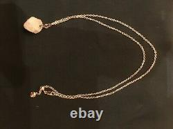 BNWT Monica Vinader Rose Quartz Pendant Necklace in 18K Rose Gold Vermeil