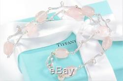 BOXED Tiffany & Co Silver Pink Rose Quartz Stone Twirl Pendant Necklace Twist