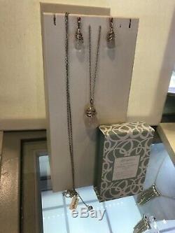 BRIGHTON NEPTUNE'S RINGS PINK Rose QUARTZ Silver Gold LONG NECKLACE & EARRINGS