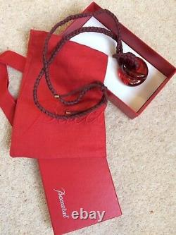 Baccarat rose crystal pendant knot with box and bag
