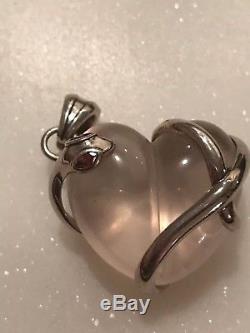 Barry Kieselstein Cord Rose Quartz Heart Pendant Sterling Peter The Snake New
