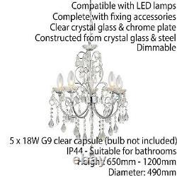 Bathroom Ceiling Pendant Light Chrome & Crystal IP44 5 Bulb Hanging Lamp Rose