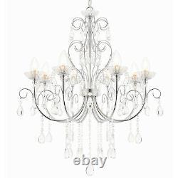 Bathroom Ceiling Pendant Light Chrome & Crystal IP44 8 Bulb Hanging Lamp Rose