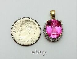 Beautiful 10K Karat Two Tone Gold Rose Crystal Charm Pendant with Diamonds