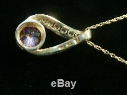 Beautiful 14k Yellow Gold Rose Quartz with Czs Pendant With Necklace. #231