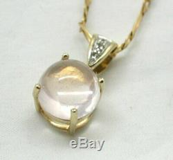 Beautiful 9 Carat Gold Rose Quartz And Diamond Pendant And Chain