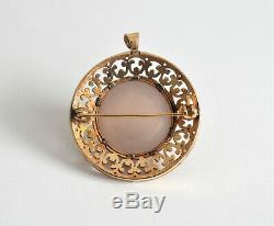 Beautiful 9ct gold rose quartz cabochon pendant brooch 12.0 grams