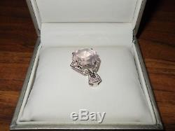 Beautiful Gems TV 9ct White Gold Huge Rose Quartz & Pink Sapphire Pendant 6.7g