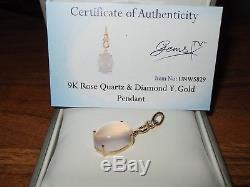 Beautiful Gems TV 9ct Yellow Gold Huge 9.498ct Rose Quartz & Diamond Pendant