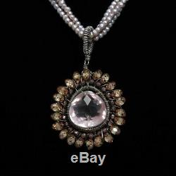 Beautiful Triple Strand Pink Pearl Necklace w Rose Quartz Citrine Pendant