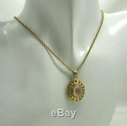 Beautiful Two Colour 9 Carat Gold Rose Quartz And Diamond Pendant And Chain