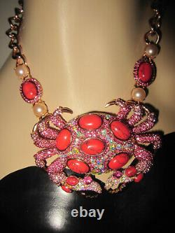 Betsey Johnson Boat House Lg Crab Rose Gold Bling Faux Pearl Statement Necklace