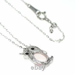 Brand New K18WG Rose Quartz Black Diamond Pendant Necklace 1.92 ct D0.15ct Owl S