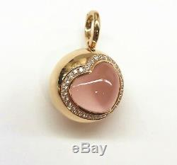 Brand New TIRISI 18K Rose Gold, Pink Quartz and Diamond Pendant, Clip-on Bale