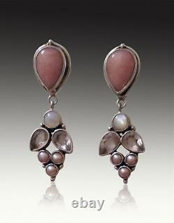 Brand New -echo Of The Dreamer Opal, Pearl Rose Quartz Sterling Pin/pendant