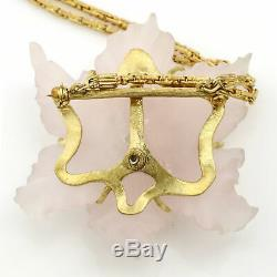 Buccellati Blossom Carved Rose Quartz Sapphire Brooch Pendant Necklace