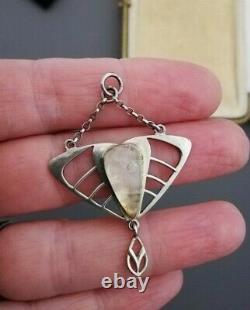 C1900 JUGENDSTIL 800 silver and rose quartz pendant with original double chains