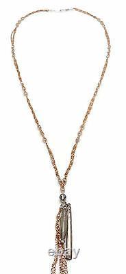 CHAN LUU Grey Crystal Rose Goldtone Long Pendant Necklace 33